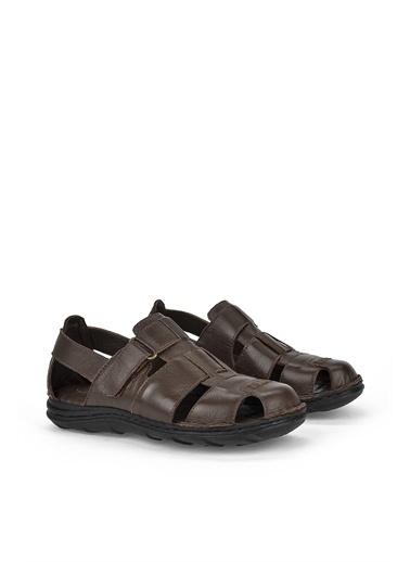 Ziya  Erkek Hakiki Deri Sandalet 111122 2016  Kahve